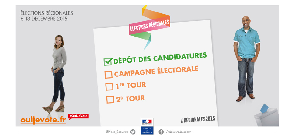 Elections r gionales 2015 publication des candidatures for Elections ministere interieur
