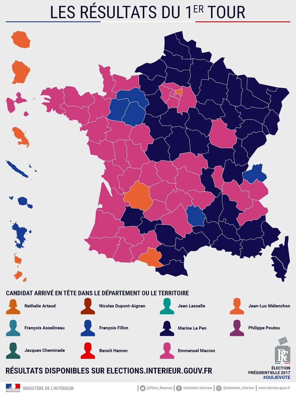 carte des elections presidentielles Election présidentielle 2017 : résultats globaux du premier tour