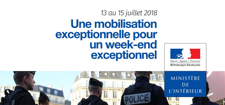 Week-end du 13 au 15 juillet 2018 : dispositif de sécurisation